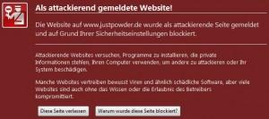 Als attackierend gemeldete Website