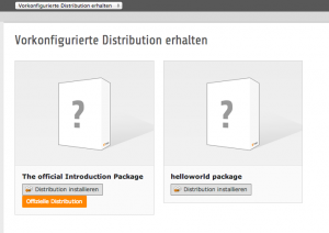 Distributionsauswahl TYPO3 Backend